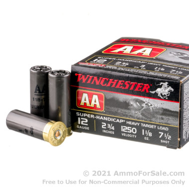 250 Rounds of 1 1/8 ounce #7 1/2 shot 12ga Ammo by Winchester AA Super Handicap