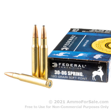 20 Rounds of 180gr SP 30-06 Springfield Ammo by Federal
