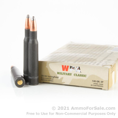 500  Rounds of 140gr SP 30-06 Springfield Ammo by Wolf