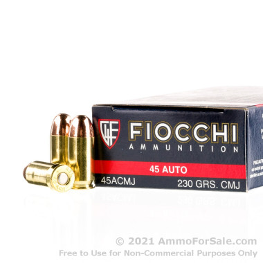 50 Rounds of 230gr CMJ .45 ACP Ammo by Fiocchi Shooting Dynamics