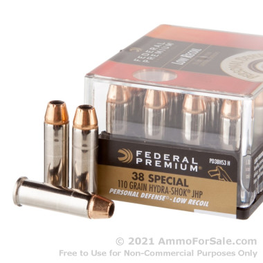 200 Rounds of 110gr JHP .38 Spl Ammo by Federal Hydra-Shok Low Recoil