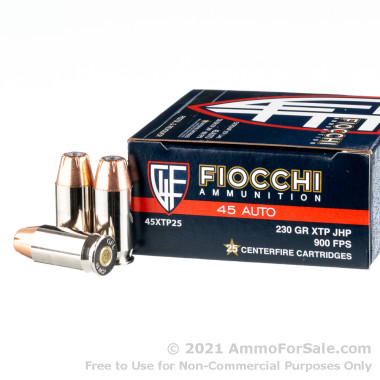 25 Rounds of 200gr JHP .45 ACP Ammo by Fiocchi