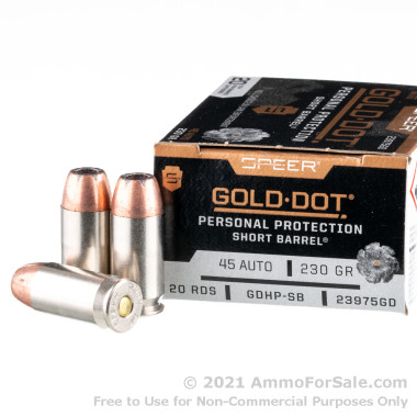 20 Rounds of 230gr JHP .45 ACP Ammo by Speer Short Barrel