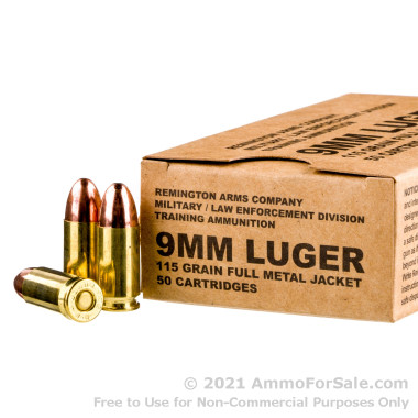 50 Rounds of 115gr FMJ 9mm Ammo by Remington
