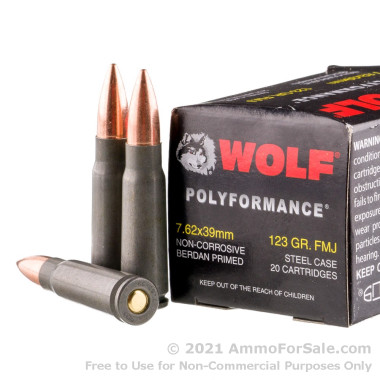 1000 Rounds of 123gr FMJ 7.62x39mm Ammo by Wolf