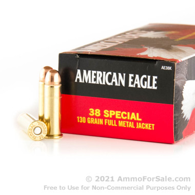 50 Rounds of 130gr FMJ .38 Spl Ammo by Federal American Eagle