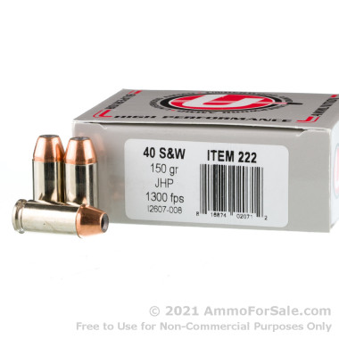 20 Rounds of 150gr JHP .40 S&W Ammo by Underwood