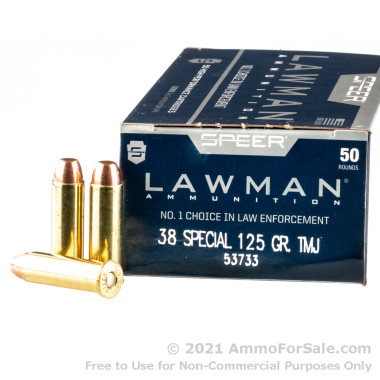 50 Rounds of 125gr TMJ .38 Spl Ammo by Speer Lawman