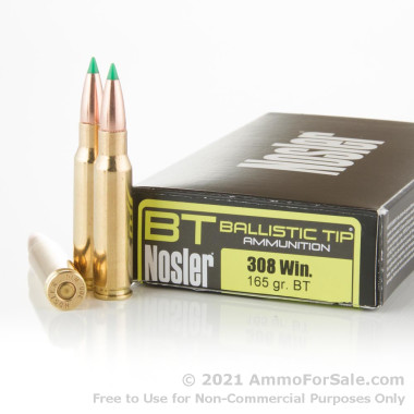 20 Rounds of 165gr Nosler Ballistic Tip .308 Win Ammo by Nosler Ammunition