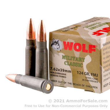 1000 Rounds of 124gr FMJ 7.62x39mm Ammo by Wolf Mil Classic WPA