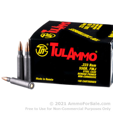100 Rounds of 55gr FMJ .223 Ammo by Tula