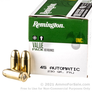 100 Rounds of 230gr MC .45 ACP Ammo by Remington