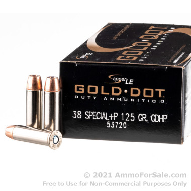 50 Rounds of 125gr JHP .38 Spl Ammo by Speer