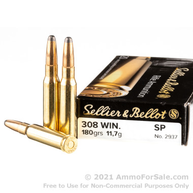 500  Rounds of 180gr SP .308 Win Ammo by Sellier & Bellot