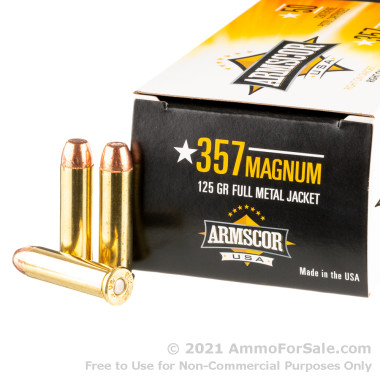 50 Rounds of 125gr FMJ .357 Mag Ammo by Armscor USA