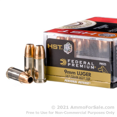 20 Rounds of 147gr HST JHP 9mm Ammo by Federal