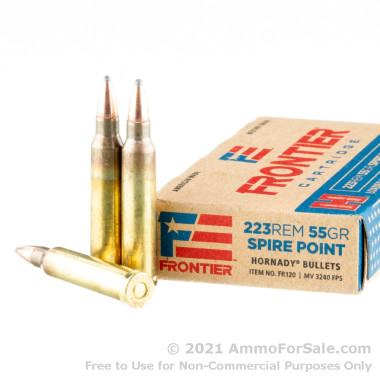 20 Rounds of 55gr SP 223 Rem Ammo by Hornady