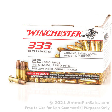 333 Rounds of 36gr CPHP .22 LR Ammo by Winchester