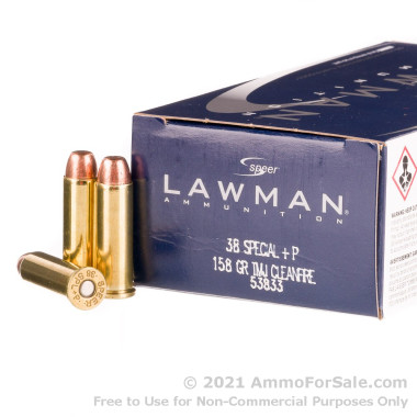 1000 Rounds of 158gr TMJ 38 Special +P Ammo by Speer