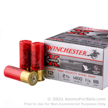 25 Rounds of 1 1/8 ounce BB (Steel) 12ga Ammo by Winchester