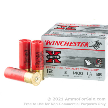 25 Rounds of 1 1/4 ounce BB Steel Shot 12ga Ammo by Winchester Super-X Xpert HV