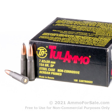 100 Rounds of 154gr Soft Point 7.62x39mm Ammo by Tula