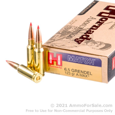200 Rounds of 123gr A-Max 6.5mm Grendel Ammo by Hornady