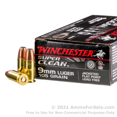 50 Rounds of 105gr JSP 9mm Ammo by Winchester Super Clean Non-Toxic
