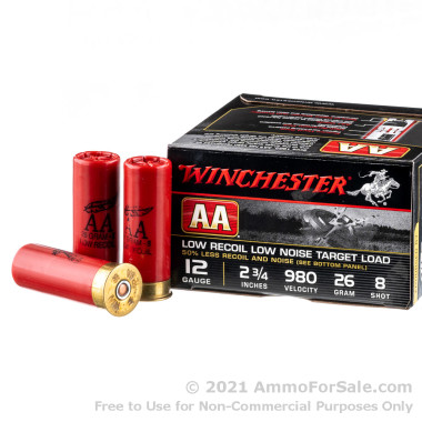 250 Rounds of 7/8 ounce #8 low recoil shot 12ga Ammo by Winchester AA