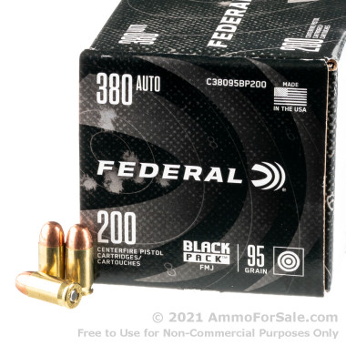 200 Rounds of 95gr FMJ .380 ACP Ammo by Federal Black Pack