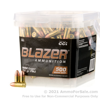 1000 Rounds of 115gr FMJ 9mm Ammo by Blazer in Buckets