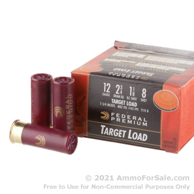 25 Rounds of  #8 shot 12ga Ammo by Federal Gold Medal Target