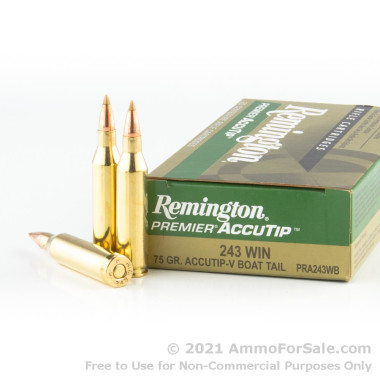 20 Rounds of 165gr Accutip .243 Win Ammo by Remington
