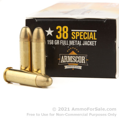 50 Rounds of 158gr FMJ .38 Spl Ammo by Armscor