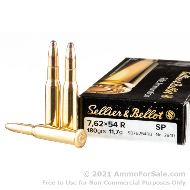 20 Rounds of 180gr SP 7.62x54r Ammo by Sellier & Bellot