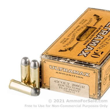 50 Rounds of 200gr RNFP .45 Long-Colt Ammo by Ultramax