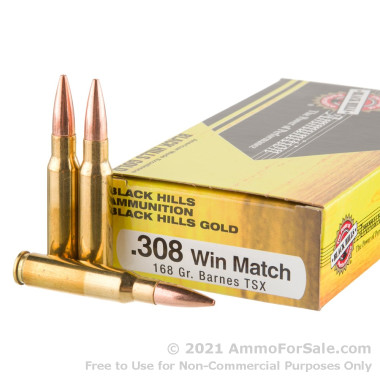 20 Rounds of 168gr TSX .308 Win Ammo by Black Hills Gold Ammunition
