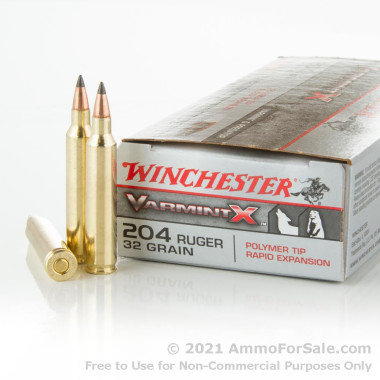 20 Rounds of 32gr Polymer Tip .204 Ruger Ammo by Winchester