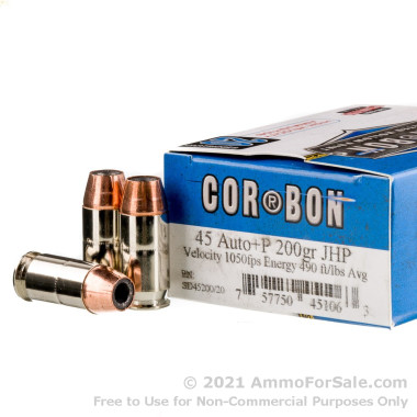 500  Rounds of 200gr JHP .45 ACP + P Ammo by Corbon