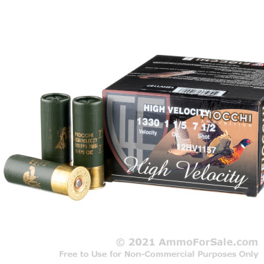 """25 Rounds of 2-3/4"""" 1-1/5 ounce #7-1/2 shot 12ga Ammo by Fiocchi High Velocity Hunting"""