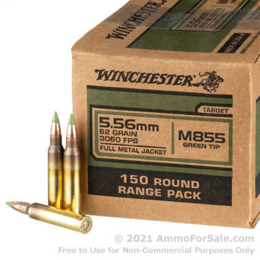 150 Rounds of 62gr FMJ M855 5.56x45 Ammo by Winchester