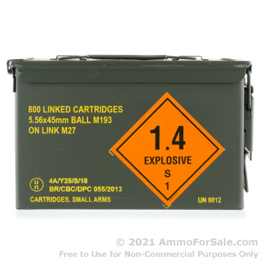 800 Rounds of 55gr FMJ M193 5.56x45 Linked Ammo in Ammo Can by Magtech