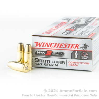 50 Rounds of 147gr BEB 9mm Ammo by Winchester