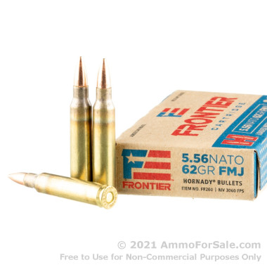 20 Rounds of 62gr FMJ 5.56x45 Ammo by Hornady