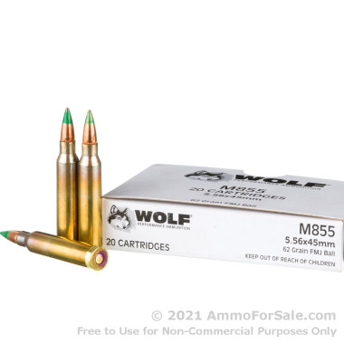 1000 Rounds of 62gr FMJ M855 5.56x45 Ammo by Wolf