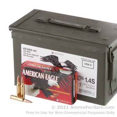 200 Rounds of 150gr FMJBT .308 Win Ammo by Federal American Eagle