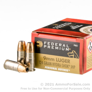 500  Rounds of 124gr JHP 9mm Ammo by Federal