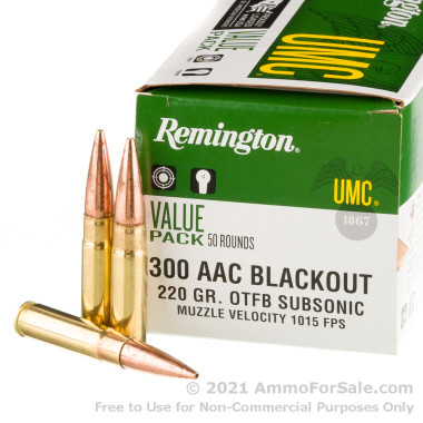 50 Rounds of 220gr OTFB .300 AAC Blackout Ammo by Remington