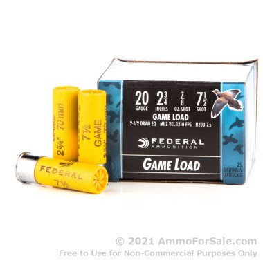 25 Rounds of 7/8 ounce #7 1/2 shot 20ga Ammo by Federal