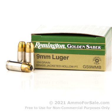 500 Rounds of 124gr JHP 9mm Ammo by Remington